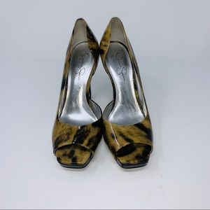 Jessica Simpson Patent Leather Animal Print Sz 8.5